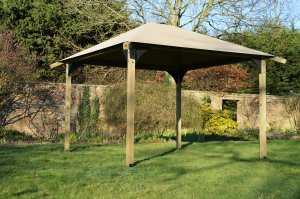 3m x 3m ULTIMATE Wooden Gazebo Kit with Canvas Canopy & Black Brackets