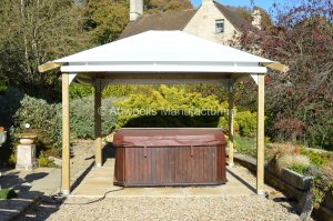 3m x 3m ULTIMATE Wooden Gazebo Kit with PVC Canopy & Silver Brackets