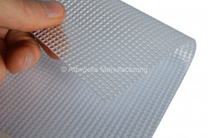 530g/m² Semi Translucent Fire Retardant PVC Coated Polyester. Width: 203cm