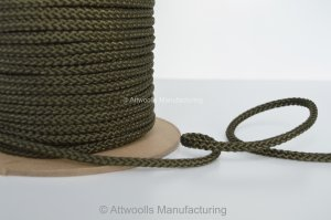 5mm DIA Polyester Braided Cord. Olive