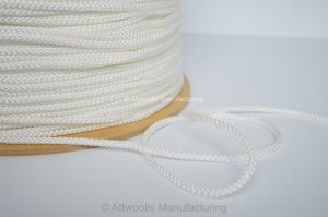 5mm DIA Polyester Braided Cord. White