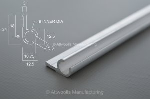 Awning Rail SMALL x 3m Length