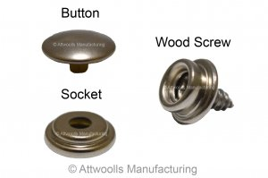 Fabric To Wood Press Stud Set (1 button, 1 socket and 1 wood screw)