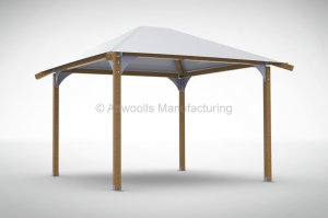 3m x 3m ULTIMATE Wooden Gazebo Kit with Canvas Canopy & Silver Brackets