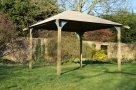 Modern wooden gazebo kit with heavy duty long life canvas/PVC fabric canopy. DIY gazebo kit. Gazebo side panels available.
